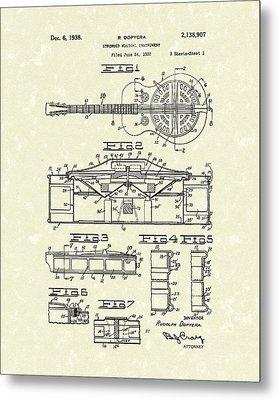 Guitar 1938 Patent Art Metal Print by Prior Art Design