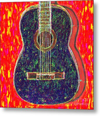 Guitar - 20130123v1 Metal Print by Wingsdomain Art and Photography