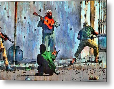 Guitar At Battlefield - Da Metal Print