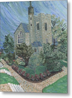 Metal Print featuring the painting Gunnison Chapel In The Last Days Of Summer by Denny Morreale
