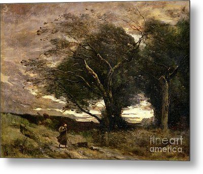 Gust Of Wind Metal Print by Jean Baptiste Camille Corot