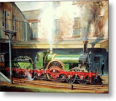 Metal Print featuring the painting Gwr Broad Gauge Single. by Mike Jeffries
