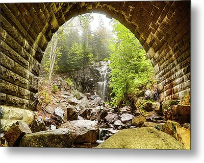 Metal Print featuring the photograph Hadlock Falls Under Carriage Road Arch by Jeff Folger