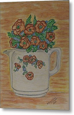 Metal Print featuring the painting Hall China Orange Poppy And Poppies by Kathy Marrs Chandler