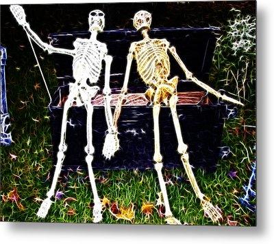 Halloween Skeleton Couple Metal Print by Darleen Stry
