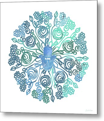 Hamsa Mandala 1- Art By Linda Woods Metal Print