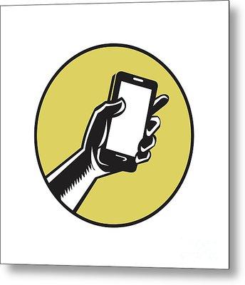 Hand Holding Smartphone Circle Woodcut Metal Print by Aloysius Patrimonio