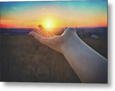 Hand Holding Sun - Sunset At Lapham Peak - Wisconsin Metal Print by Jennifer Rondinelli Reilly - Fine Art Photography