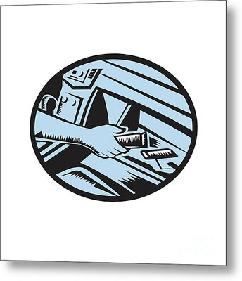 Hand Reaching In Glove Box For Energy Bar Oval Woodcut Metal Print