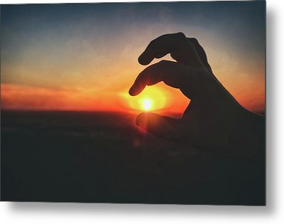 Hand Silhouette Around Sun - Sunset At Lapham Peak - Wisconsin Metal Print by Jennifer Rondinelli Reilly - Fine Art Photography