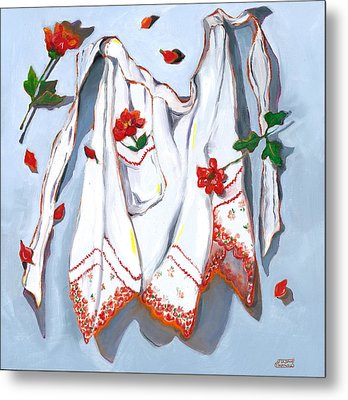 Handkerchief Apron Metal Print by Susan Thomas