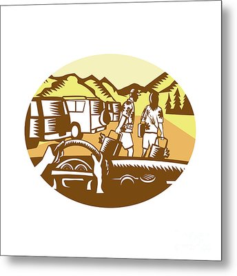 Hands On Wheel Tourist Mountain Oval Woodcut Metal Print