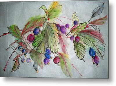 Metal Print featuring the painting Hanging Crabapples by Debbi Saccomanno Chan