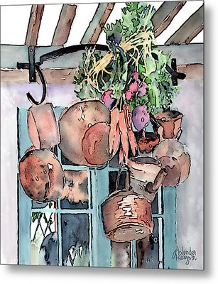 Hanging Pots And Pans Metal Print by Arline Wagner