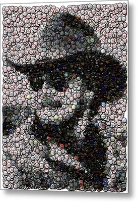 Hank Williams Jr. Bottle Cap Mosaic Metal Print