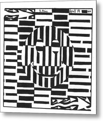 Happiness Is An Illusion Maze Metal Print by Yonatan Frimer Maze Artist