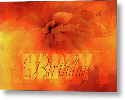 Happy Birthday Orange Metal Print