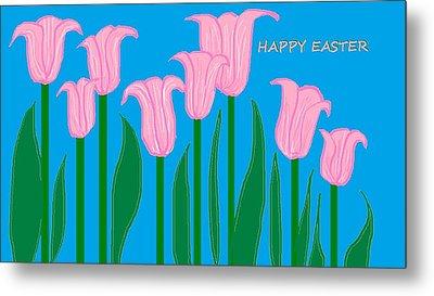 Happy Easter 1 Metal Print by Linda Velasquez