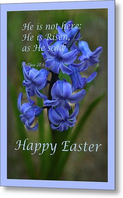 Happy Easter Hyacinth Metal Print by Ann Bridges