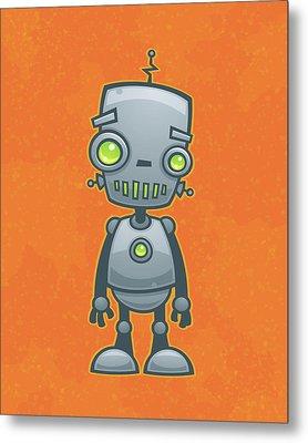 Happy Robot Metal Print by John Schwegel