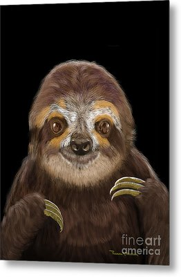 Happy Three Toe Sloth Metal Print