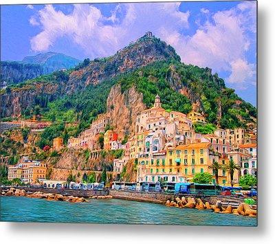 Harbor At Amalfi Metal Print