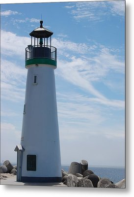 harbor lighthouse Santa Cruz Metal Print