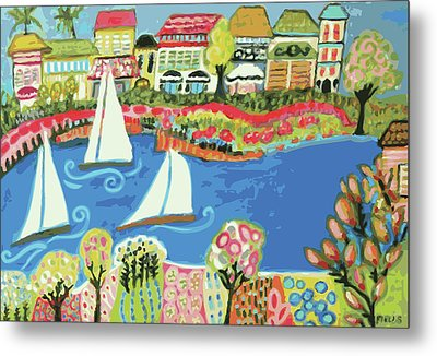 Harbor Of Gardens  Metal Print by Karen Fields