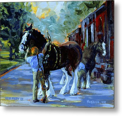 Harnessing The Clydesdales Metal Print