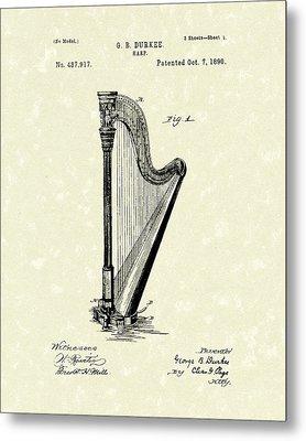 Harp 1890 Patent Art Metal Print by Prior Art Design