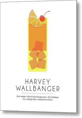 Harvey Wallbanger Classic Cocktail - Minimalist Print Metal Print