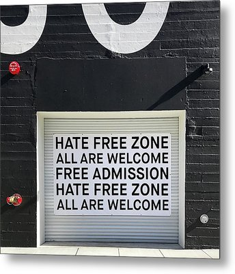 Hate Free Zone Metal Print