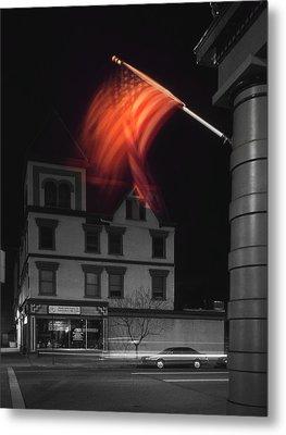 Waving Flag In Easton Metal Print by Mike McGlothlen