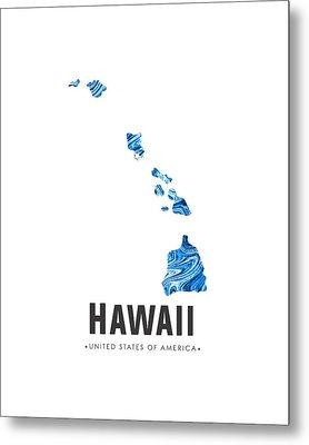 Hawaii Map Art Abstract In Blue Metal Print