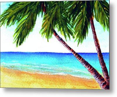 Hawaiian Beach Palm Trees  #425 Metal Print by Donald k Hall