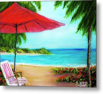 Hawaiian Beach Wave Art Print Painting #441 Metal Print by Donald k Hall