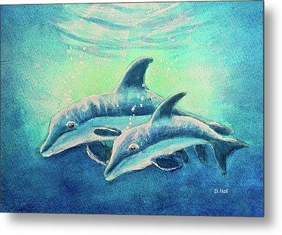 Hawaiian Dolphins  #389 Metal Print by Donald k Hall