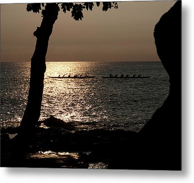 Hawaiian Dugout Canoe Race At Sunset Metal Print