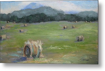 Hay Bales And Pinnacle Metal Print
