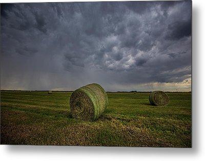 Hay Bales And Rain  Metal Print