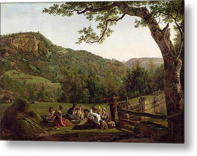 Haymakers Picnicking In A Field Metal Print by Jean Louis De Marne