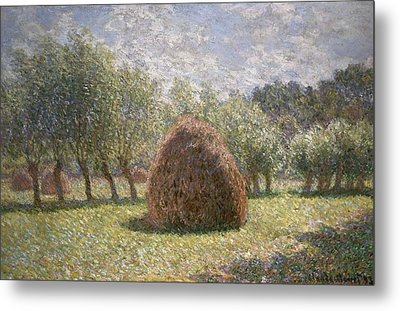 Haystacks At Giverny Metal Print by Claude Monet