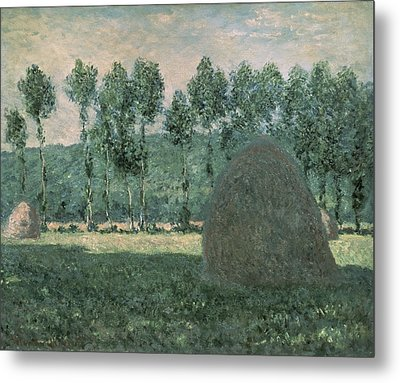 Haystacks Near Giverny Metal Print by Claude Monet