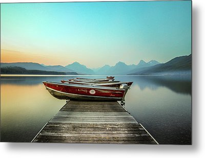 Hazy Reflection // Lake Mcdonald, Glacier National Park Metal Print