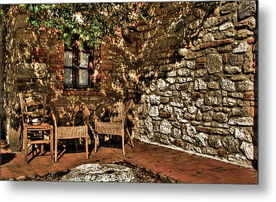 Hdr Chairs Metal Print by Andrea Barbieri
