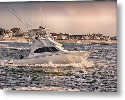 Hdr Fishing Boat Ocean Beach Beachtown Boadwalk Scenic Photography Photos Pictures Boating Sea Pics Metal Print by Pictures HDR