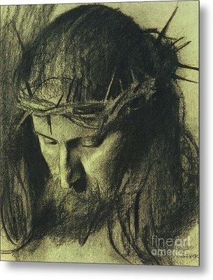 Head Of Christ Metal Print by Franz Von Stuck