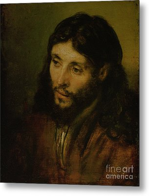 Head Of Christ Metal Print by Rembrandt