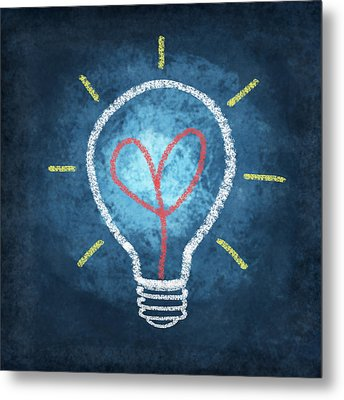 Heart In Light Bulb Metal Print