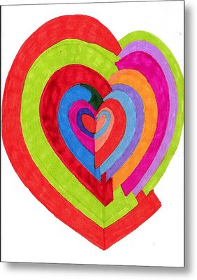 Heart Maze Metal Print by Brenda Adams
